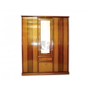 Three Door Wardrobe With Mirror And Front Drawer
